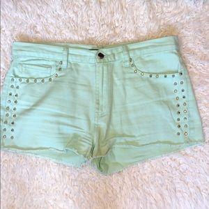 Seafoam denim shorts